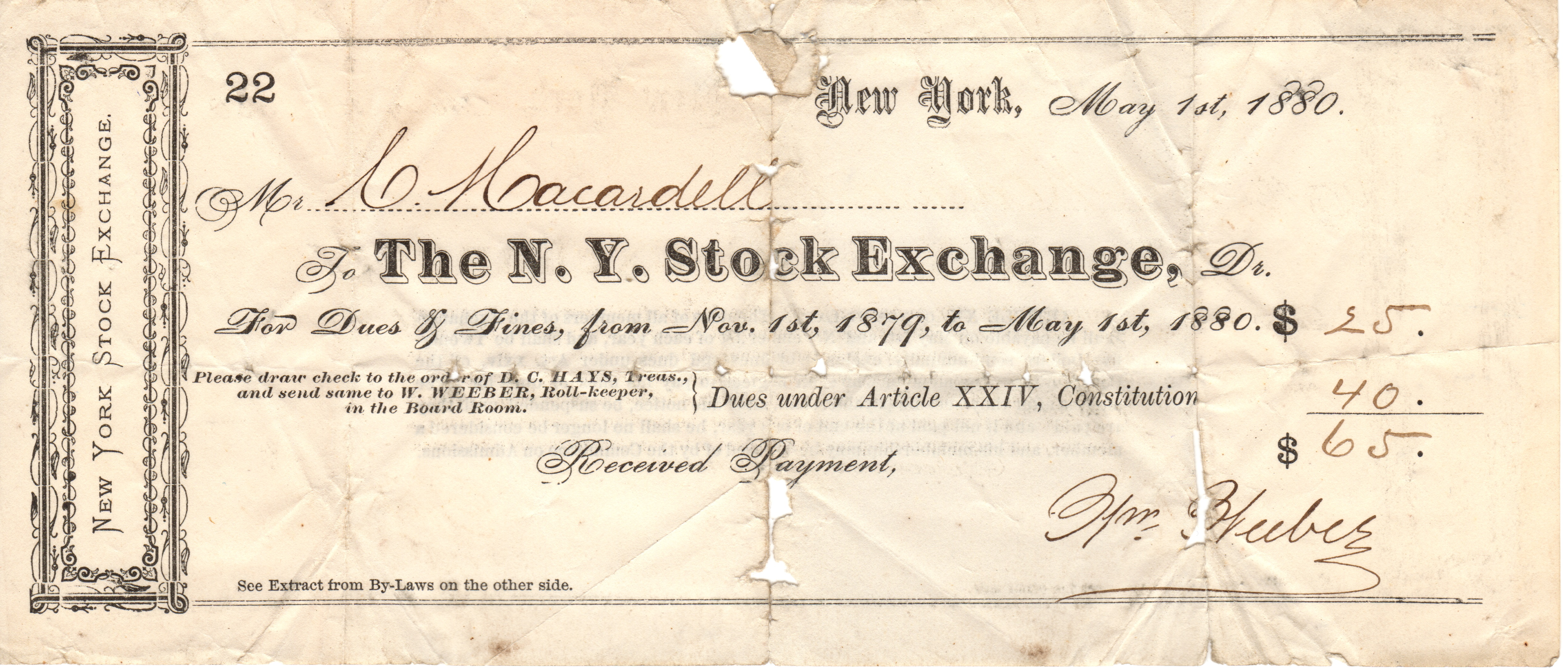 Ej phillips 1830 1904 money economics and salaries cornelius macardell ny stock exchange dues nov 1879 may 1880 dc hays had become treasurer of the nyse in 1866 1betcityfo Choice Image